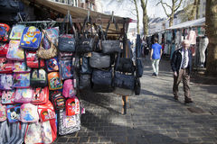 Bags hang from market stall in the dutch city of breda Royalty Free Stock Image