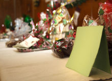 Bags of holiday candy with blank card Royalty Free Stock Images