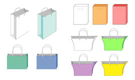 Bags and icon set Stock Photos