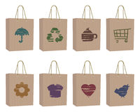 Bags with icons Stock Photo