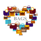 Bags icons in shape heart Royalty Free Stock Photography