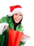 bags jul som rymmer över shoppingwhitekvinna Royaltyfri Bild