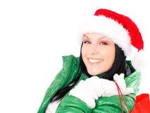 bags jul som rymmer shoppingkvinnan Arkivfoton