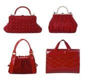 bags kvinnlign isolerad röd white för läder royaltyfria foton