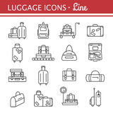 Bags line icon set. luggage images. Luggage icon set. Backpack, handbag, suitcase, briefcase, messenger bag, trolley, travel bag. Vector illustration of thin Stock Images