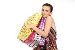 bags lott som shoppar kvinnan royaltyfri fotografi