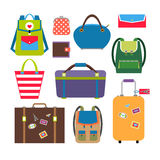 Bags and luggage flat icons Royalty Free Stock Images