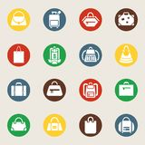 Bags and luggage icons Royalty Free Stock Images