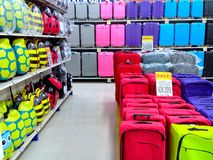 Bags and luggage products sold in a grocery store Royalty Free Stock Photos