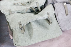 Bags made of rough gray linen. On factory warehouse Royalty Free Stock Photo