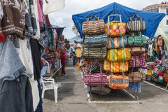 Bags at the market of Otavalo royalty free stock images