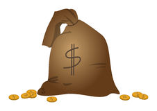 Bags with money. Riches symbol:  linen bag, to the outset filled by money Royalty Free Stock Image