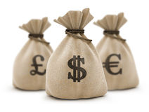 Bags with money Stock Photography