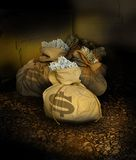 Bags of money. A dingy cellar or room full of bags of money sitting on a rock floor Stock Photography