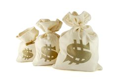 Bags with money. Three bags with money on the white background stock image