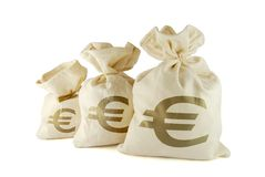 Bags of money. Three bags of money on the white background stock photos