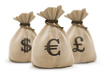 Bags with money euro. Sacks with money different currencies isolated with clipping path inckuded Stock Photography