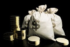 Bags of money and fine gold coins. 3D rendering of bags of money and fine gold coins Stock Photo