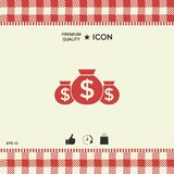 Bags of money icon with dollar symbol. Element for your design Royalty Free Stock Photography