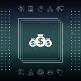 Bags of money icon with dollar symbol. Element for your design Stock Photos