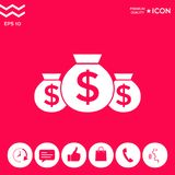 Bags of money icon with dollar symbol. Element for your design . Signs and symbols - graphic elements for your design Stock Images