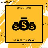 Bags of money icon with dollar symbol. Element for your design Stock Photography