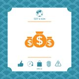 Bags of money icon with dollar symbol. Element for your design Royalty Free Stock Images