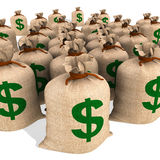 Bags Of Money Showing American Finances Stock Images