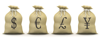 Bags of money with symbols of dollar, euro, pound Royalty Free Stock Image
