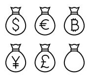 Bags with Money Thin Line Vector Icon Stock Photography