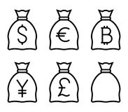 Bags with Money Thin Line Vector Icon Stock Photo