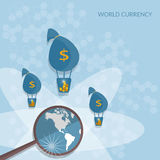 Bags of money world transactions online payments transfer Stock Photography