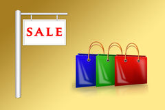 Bags near a placard sale Stock Images