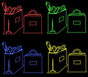 bags neon vektor illustrationer