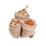 Bags with nuts Stock Photography