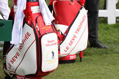 Bags of players at the Seve Trophy 2013 Royalty Free Stock Photo