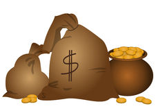 Bags and a pot with money. Two bags with money and a pot full of gold coins Royalty Free Stock Image