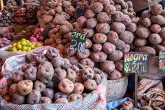 Bags of Potatoes. Arequipa, Peru - October 20, 2015: Bags of peruvian potatoes at San Camillo market Royalty Free Stock Photos