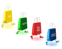 Bags and prices. Bags with inscriptions on a white background Stock Photo