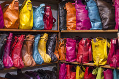 Bags, purses, hats and other products of the Moroccan leather fa Stock Images