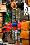 Bags, purses, hats and other products. Of the Moroccan leather factories Royalty Free Stock Image