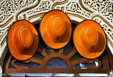 Hats and other products of the Moroccan leather Royalty Free Stock Image