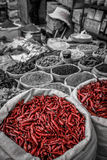 Bags of red chillies sale Royalty Free Stock Photography