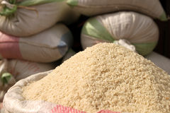 Bags of rice for sale Royalty Free Stock Photos