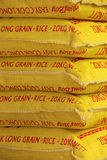 Bags of rice for sale Royalty Free Stock Image