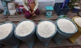 Bags of rice Stock Photos