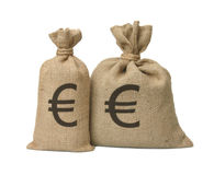 Bag from a sacking with euro. Stock Photography