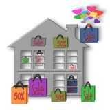 Bags Sale 50%, 50 percent discount. Illustration Royalty Free Stock Images