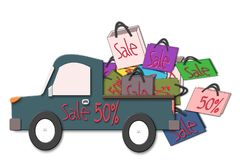 Bags Sale 50% in a pickup truck car, 50 percent discount. Illustration Royalty Free Stock Photos