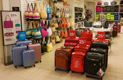 Bags for sale at a store in canada. A luggage shop as seen at a mall in british columbia Stock Photo